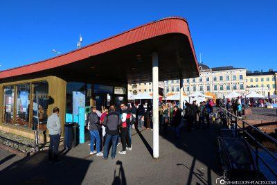 Der Ticketschalter für die Fähre in Helsinki