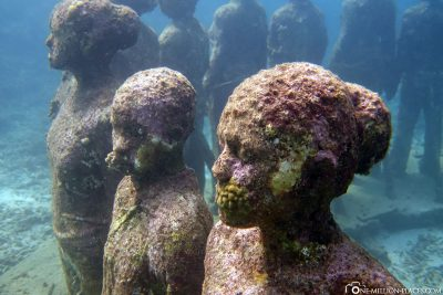 The faces of the sculptures