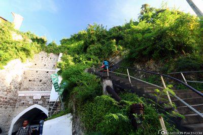 Die Treppen zum Fort George