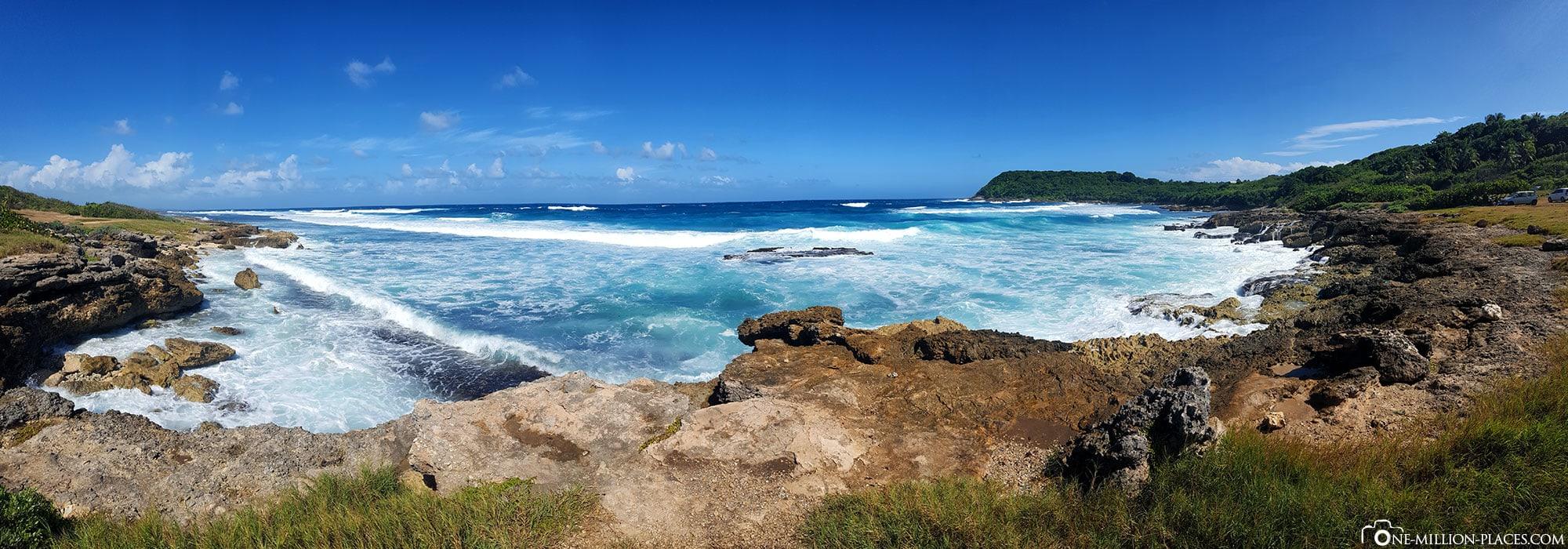 Panoramabild von der Atlantikküste, Guadeloupe, Sehenswürdigkeiten, Inselrundfahrt, Auf eigene Faust, Reisebericht