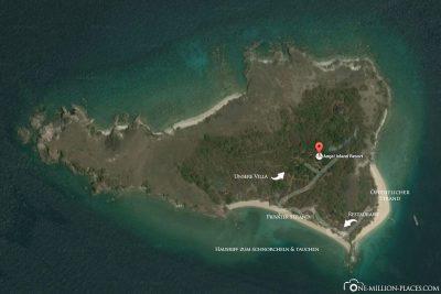 Eine Karte vom Angel Island Resort