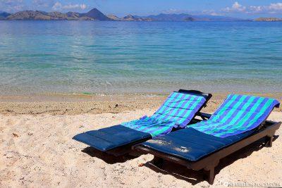 Der ruhige Strand am Resort