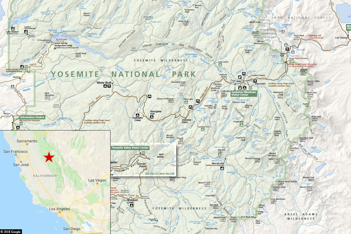 Yosemite, Map, Location, California, USA
