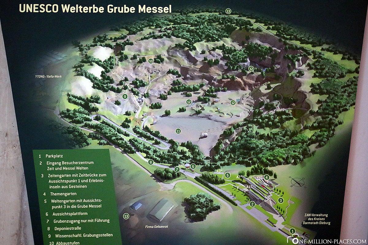 Karte der Grube Messel, Fossil, Ausgrabung, Grube Messel, Hessen, Deutschland, Welterbe, Reisebericht