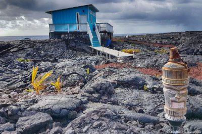 Kleine Häuser auf den Lavafeldern