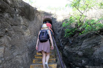 The stairs to the crater rim