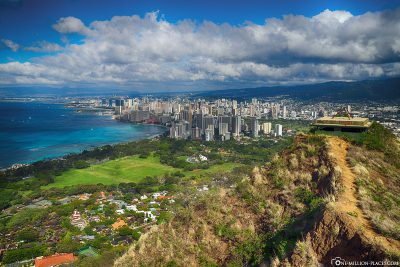 The view from Diamond Head to Honolulu
