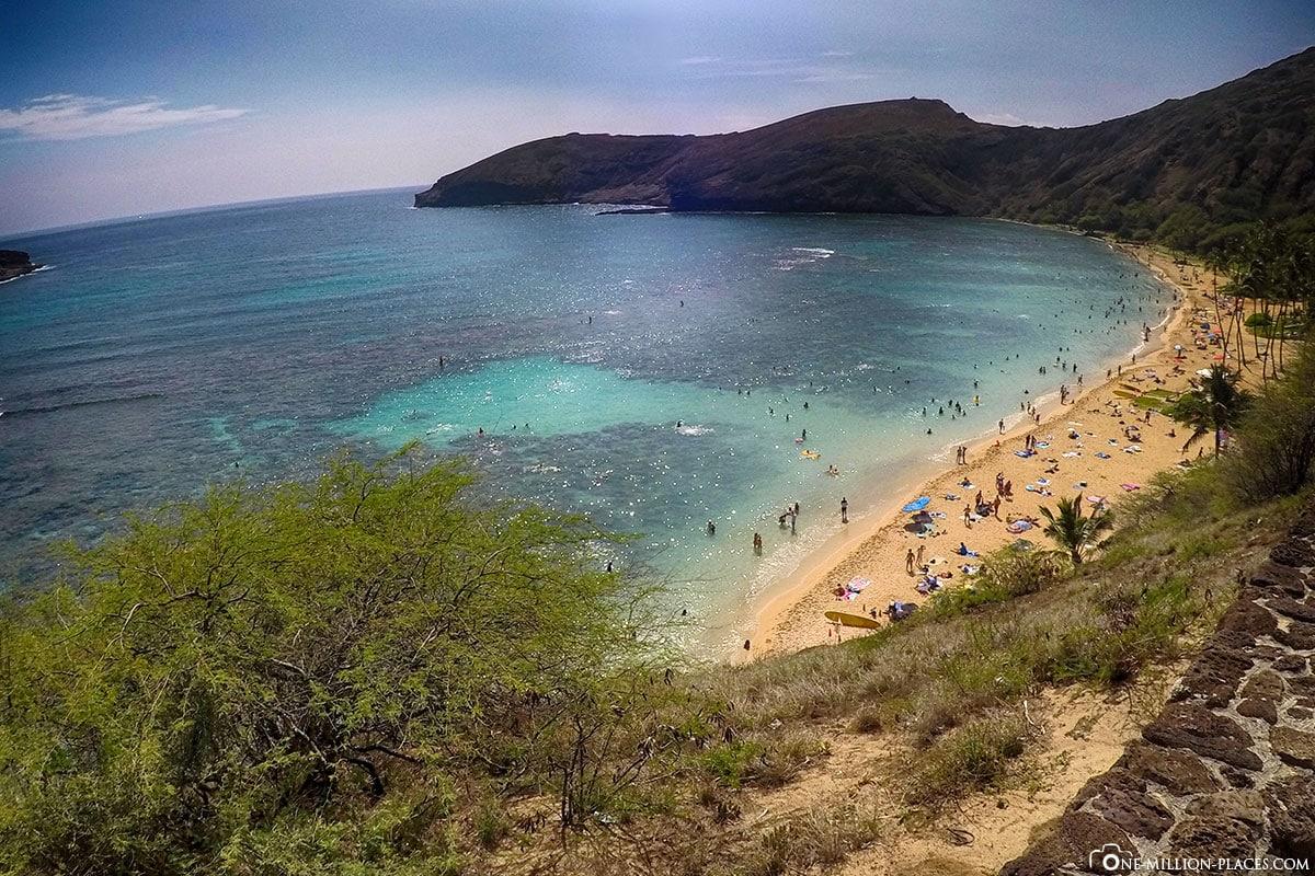 Hanauma Bay, Panorama, Strand, Oahu, Hawaii, USA, Fotospot, Reisebericht, Urlaub