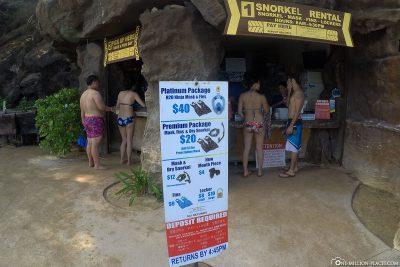 Preis für die Schnorchelausrüstung