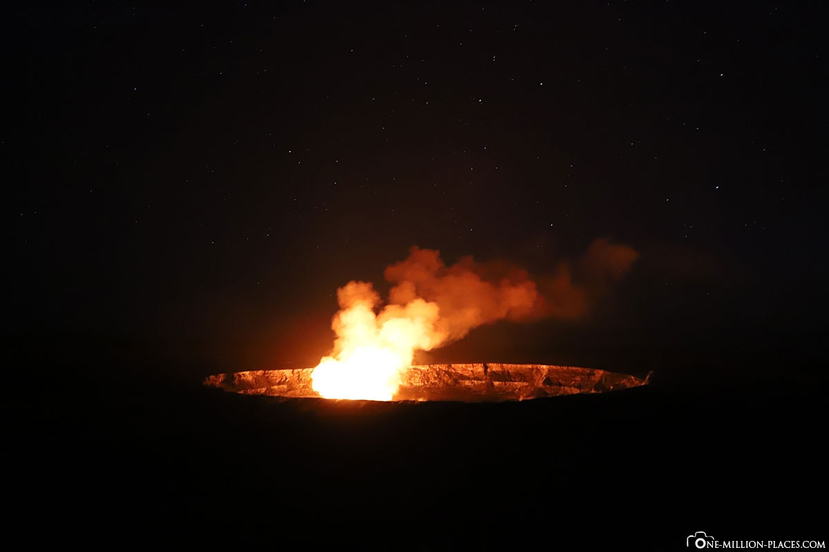 Halemaʻumaʻu Krater, Nacht, Dunkeln, Hawaii Volcanoes National Park, Big Island, Hawaii, USA, Reisebericht