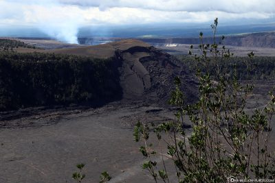 Kilauea Iki Crater with Halema'uma'u crater in the background