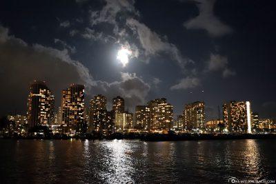 The skyline of Waikiki at night