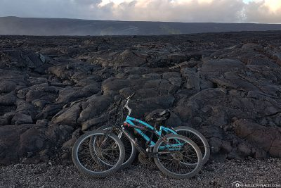 Our bikes at the lava fields