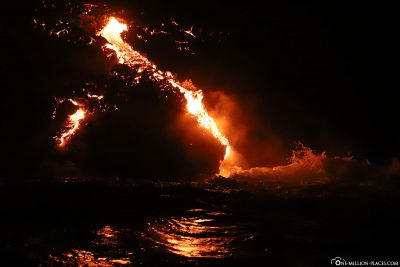 The lava reaches the sea