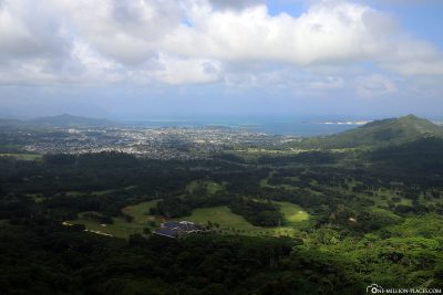 Die Panoramaaussicht am Nuuanu Pali Lookout
