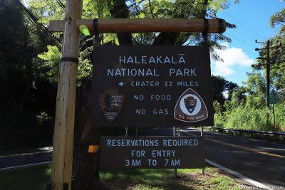 Hinweisschild Haleakala Nationalpark