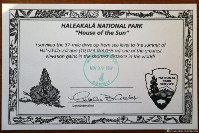 Haleakala Certificate