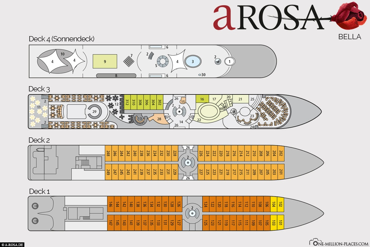Deck and Cabin Plan, A-ROSA, Bella, River Cruise, Ship, Danube Classic, Experiences, Travel Report