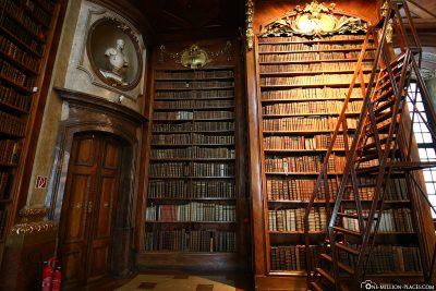 The bookshelves made of walnut wood