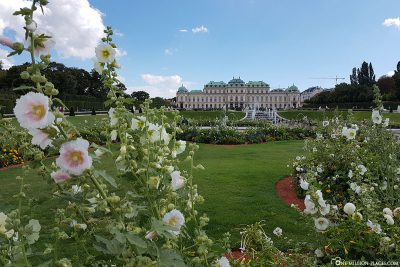 Das Schloss Belvedere mit dem Belvederegarten