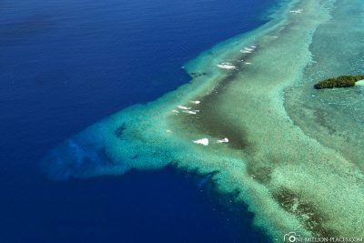 Aerial view of the Blue Corner in Palau