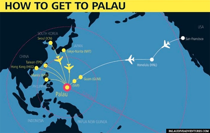 Flight connections to Palau, map, plan, travel report