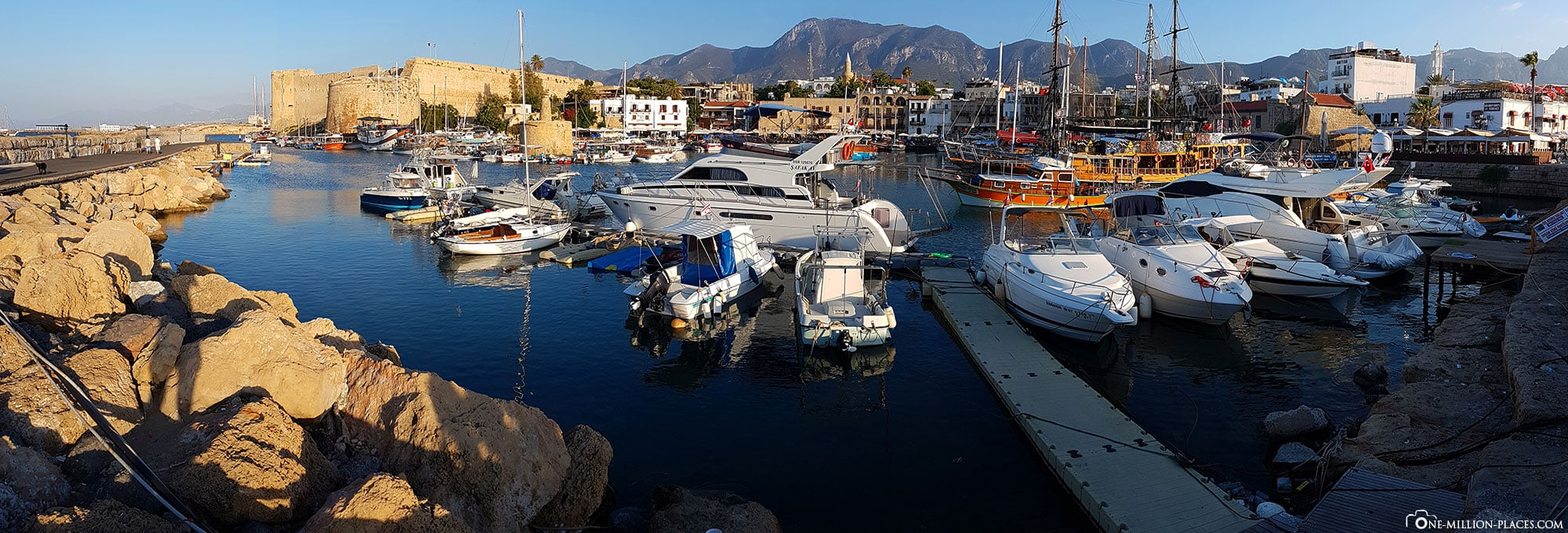 Panoramic view of the port in Kyrenia, Cyprus, Northern Cyprus, sights, travel report