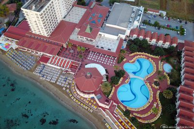 Aerial view of the hotel