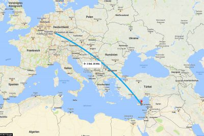 The flight route from Frankfurt to Larnaca