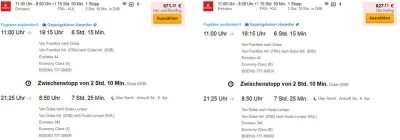Flugpreis von Frankfurt nach Kuala Lumpur