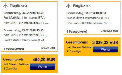 Flugpreis von Frankfurt nach New York