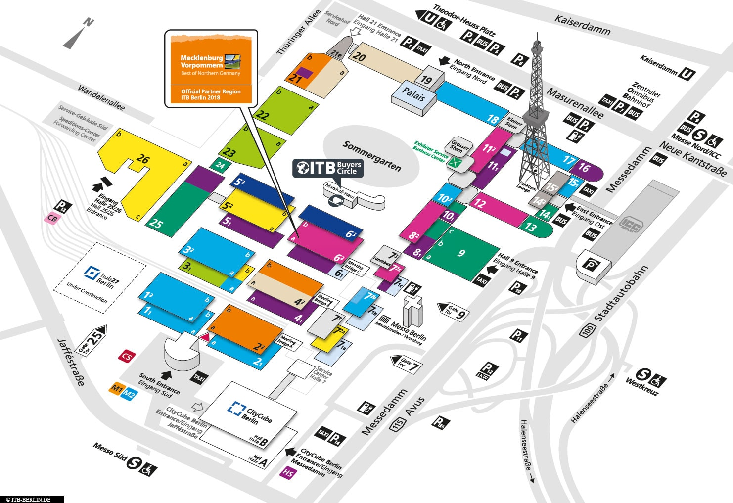 hallenplan, itb berlin 2018, map, fair