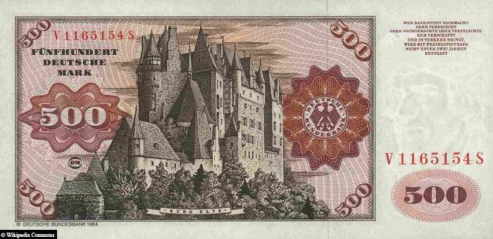 500 DM, Geldschein. Burg Eltz, Rückseite, Banknote