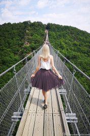 Walk over the suspension rope bridge Geierlay