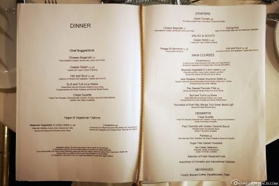 Menu of the a la carte restaurant