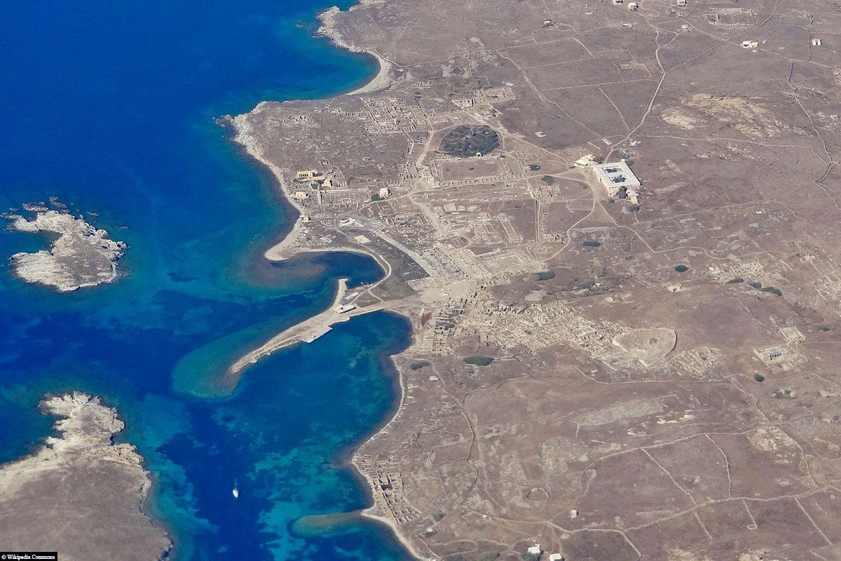 Luftaufnahme, Delos, Ruinen, UNSECO Welterbe, Ausgrabungsstätte, Mykonos, Griechenland