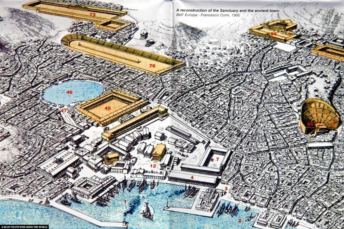 Rekonstruktion, Karte, Delos, Ruinen, UNSECO Welterbe, Ausgrabungsstätte, Mykonos, Griechenland