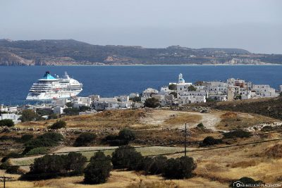 Our ship from Celestyal Cruises in front of Milos