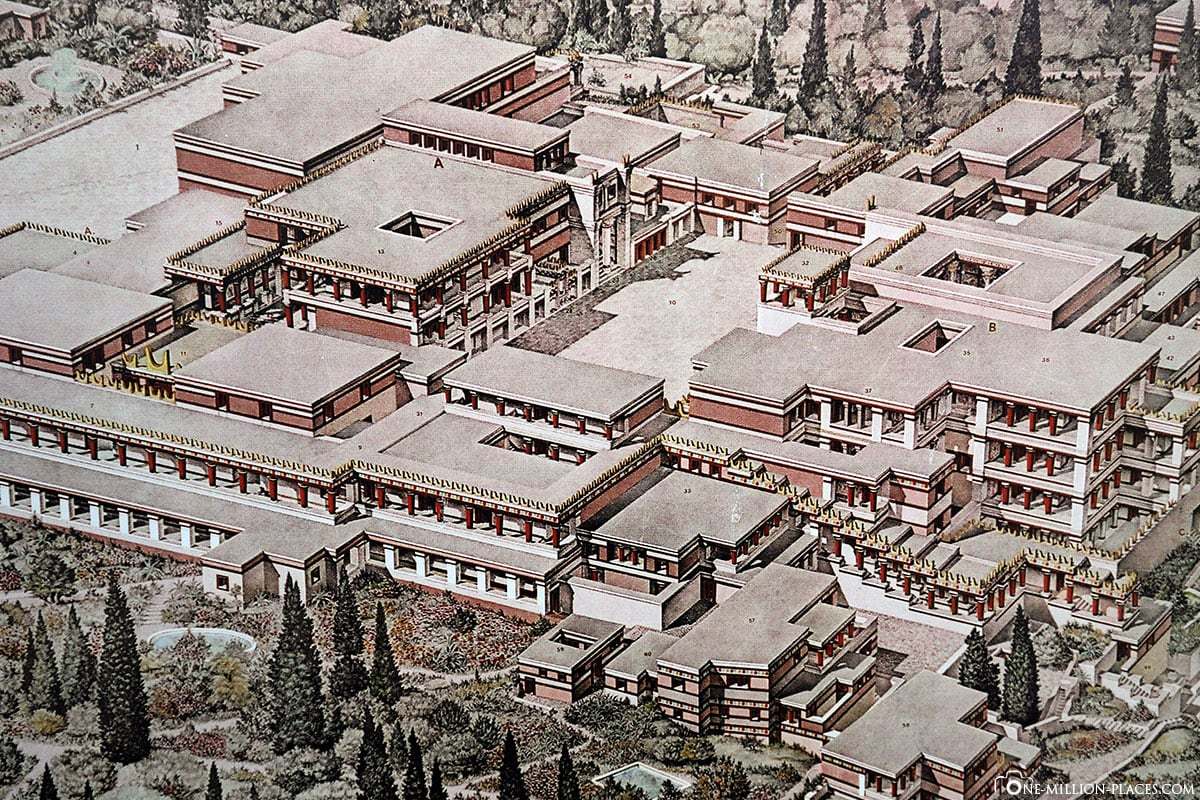 Drawing, Reconstruction, Palace of Knossos, Crete, Minoan Culture, Greek Antiquity, Ancient Culture, Temple Complex, Ruin