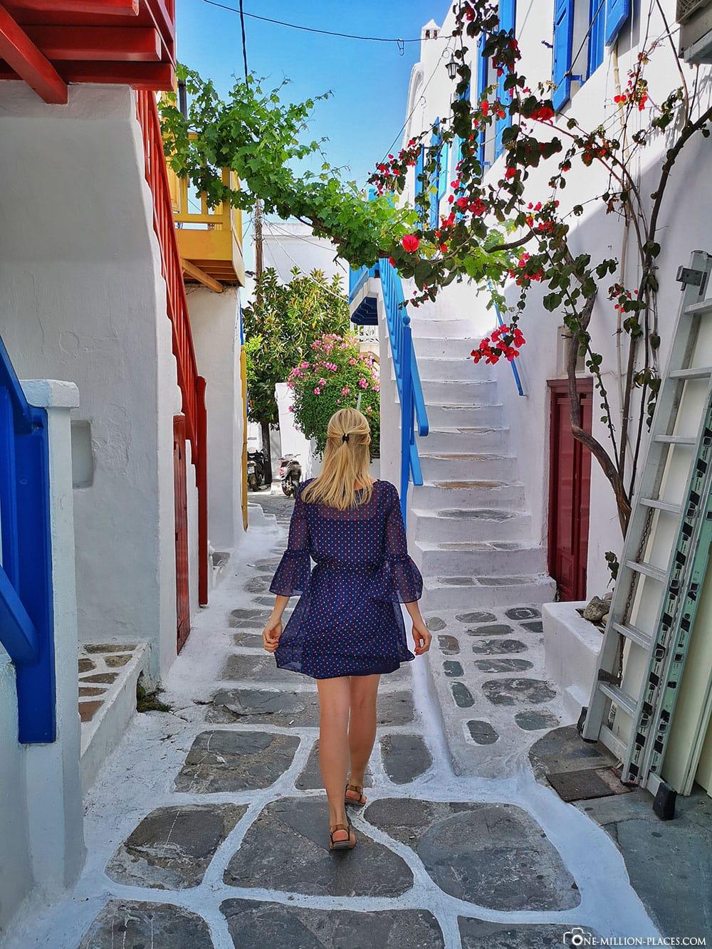 Märchenhaften Gassen, Mykonos, Chora, Stadt, Gassen, Sehenswürdigkeiten, Bilder, Reiseblog