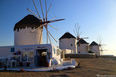 Die Windmühlen auf Mykonos