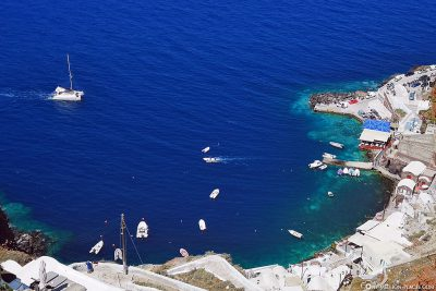 View of the port of Ammoudi