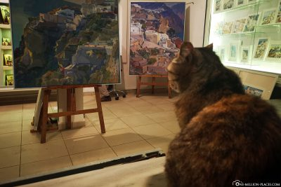 Is the cat interested in art?