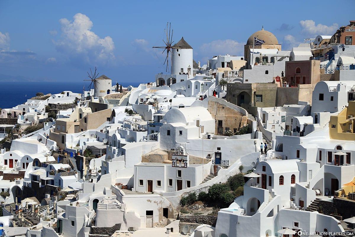Windmühle, Oia, Lage, Santorini, Griechische Inseln, Griechenland, Kreuzfahrt