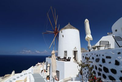 One of the windmills in Oia on Santorini