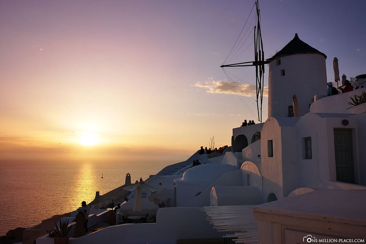 Windmühle, Sonnenuntergang, Oia, Santorini, Griechische Inseln, Griechenland, Kreuzfahrt