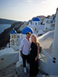 Die blauen Kirchenkuppeln auf Santorini