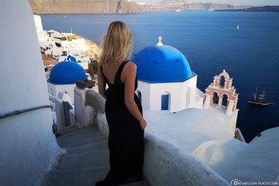 The blue church domes on Santorini
