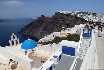 The location of the church in Fira