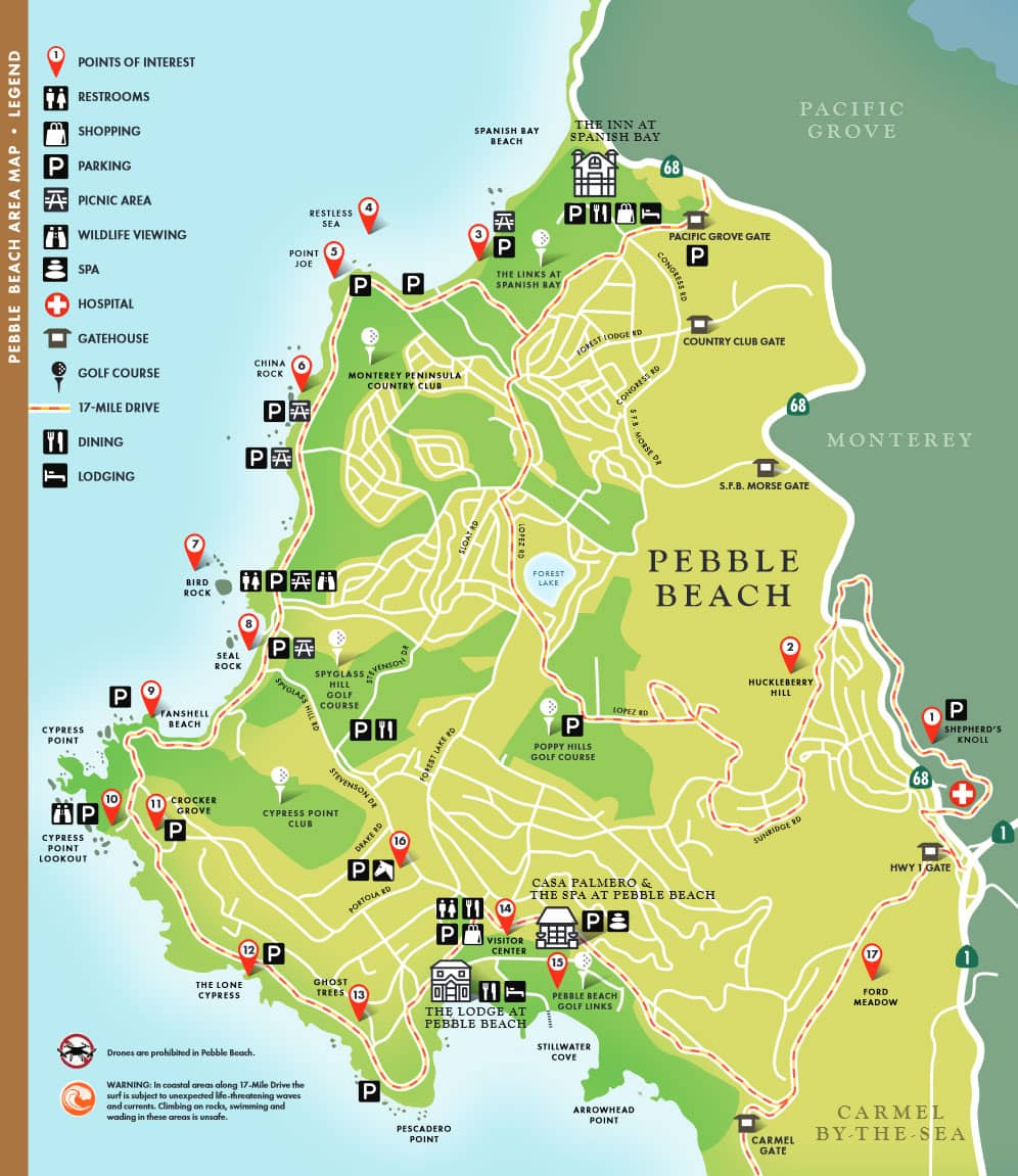 17-Mile Drive Tourist Map, USA, Reisebericht